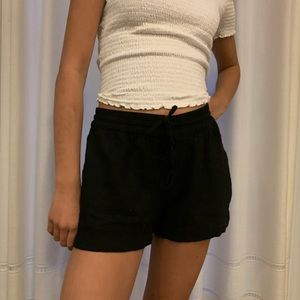 Women Black Linen Shorts